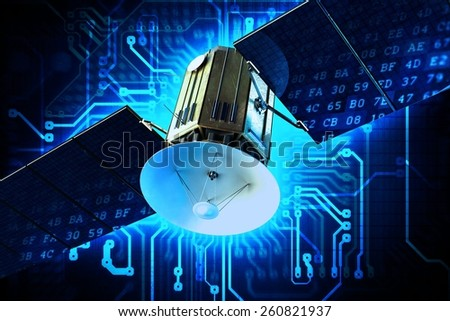 Satellite Technology Concept Illustration. Communication Satellite on Circuit Board Blue Technology Background. - stock photo