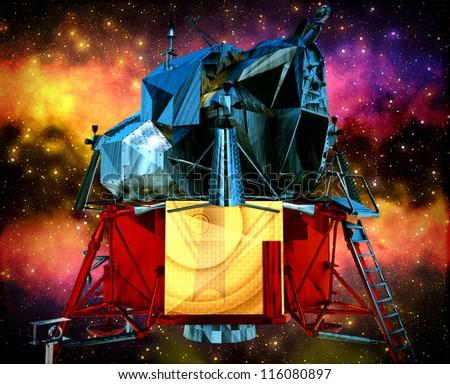 Satellite travelling through galactic space - stock photo