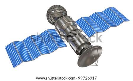 Satellite with Dish Antenna isolated on white background - stock photo