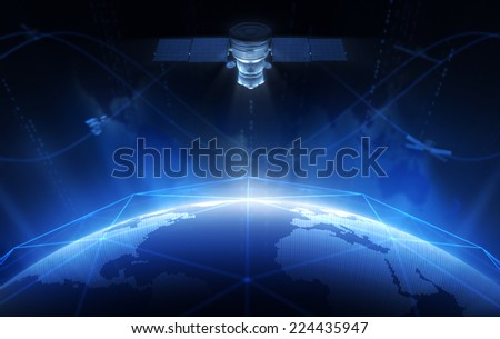Satellites and Networks - stock photo
