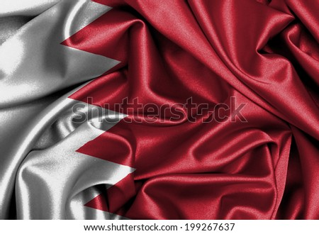 Satin flag, printed with the flag of Bahrain - stock photo