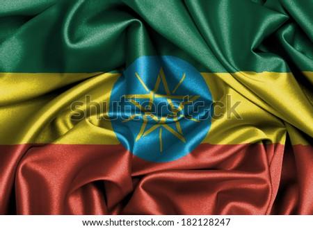 Satin flag, three dimensional render, flag of Ethiopia - stock photo