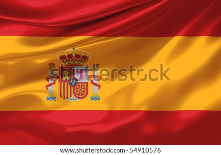 Satin Spain flag - stock photo