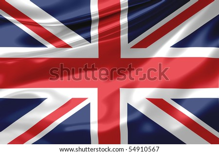Satin UK flag - stock photo