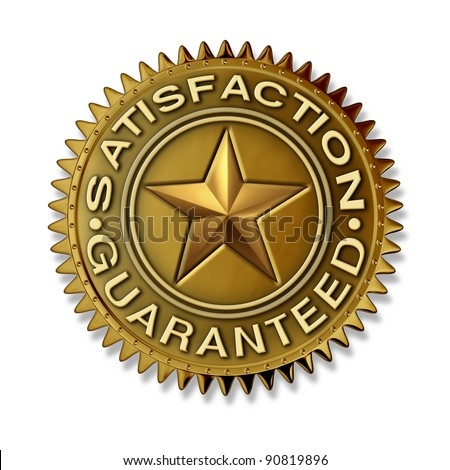Satisfaction Guaranteed gold seal with star rating on a white background with full warranty and quality customer service on a golden award badge medal as an authority and certificate of best in class. - stock photo