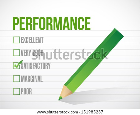 satisfactory performance review illustration design graphic over white background - stock photo