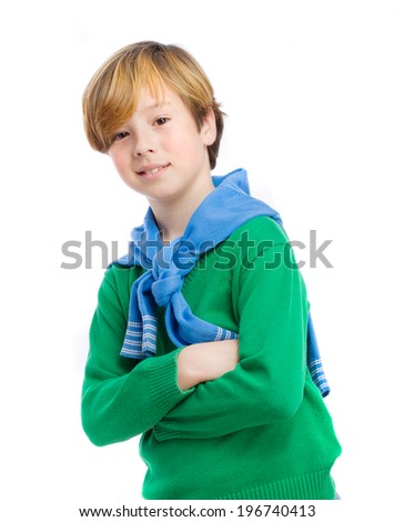 Satisfied boy posing - stock photo
