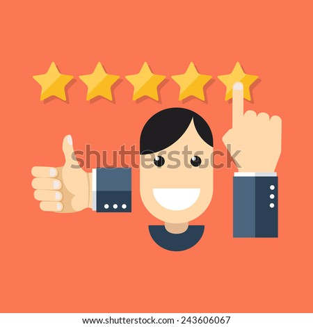 Satisfied customers concept. Flat design stylish. Isolated on color background - stock photo