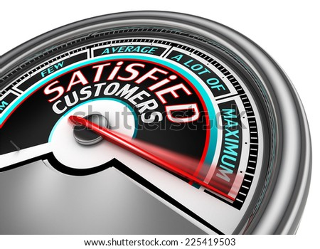 satisfied customers conceptual meter indicate maximum, isolated on white background - stock photo