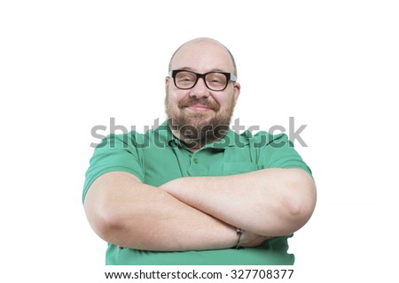 Satisfied smiling man. Studio photography on a white background. - stock photo