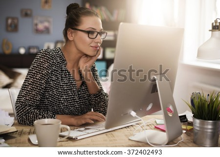 Satisfied with her own small business - stock photo