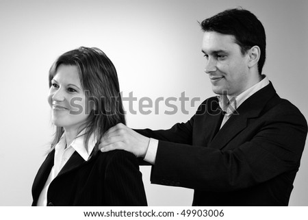 satisfied woman during massage - stock photo