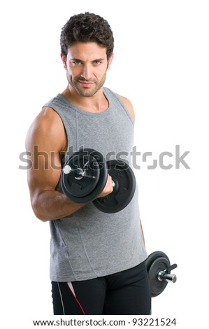 Satisfied young strength man lifting dumbbell isolated on white background - stock photo