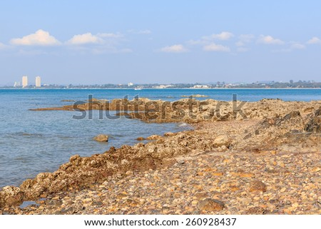 Sattahip coast on Pattaya City background - stock photo