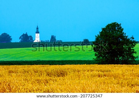 Saturated countryside scenery - stock photo
