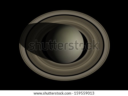 Saturn isolated in black - stock photo