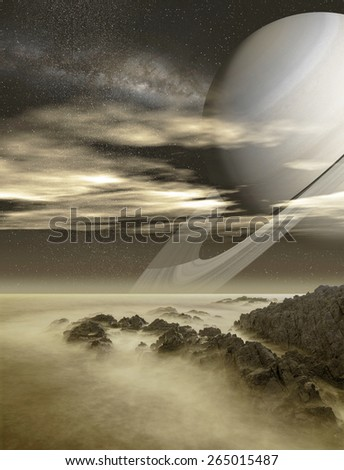 "Saturn viewed from Titan moon - ""Elements of this image furnished by NASA"" - stock photo"