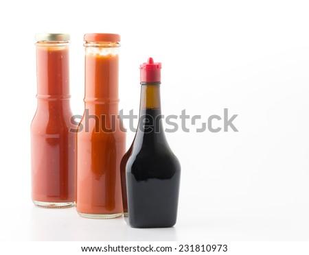 sauce bottle on white background - stock photo