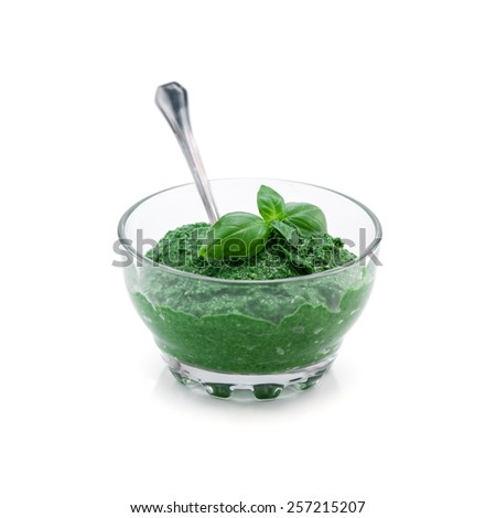 sauce pesto isolated on white - stock photo