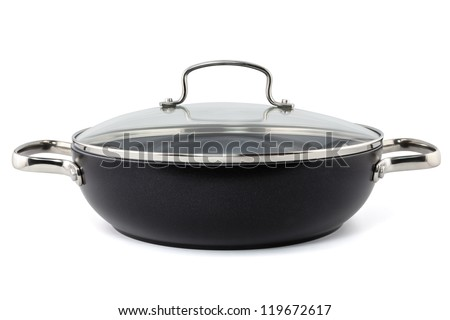 saucepan with glass lid isolated - stock photo