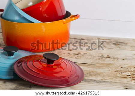Saucepans and pots - stock photo