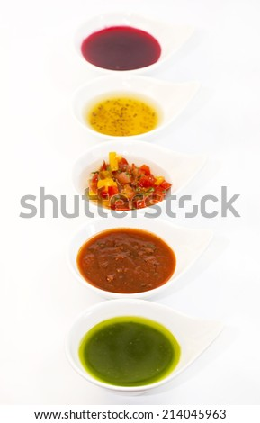 sauces on a white background - stock photo