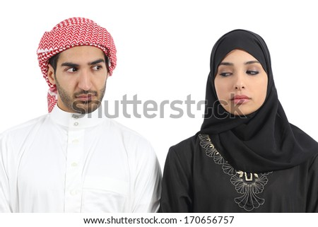 Saudi arab couple angry with problems isolated on a white background            - stock photo