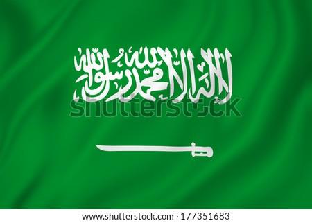 Saudi Arabia flag background texture. - stock photo