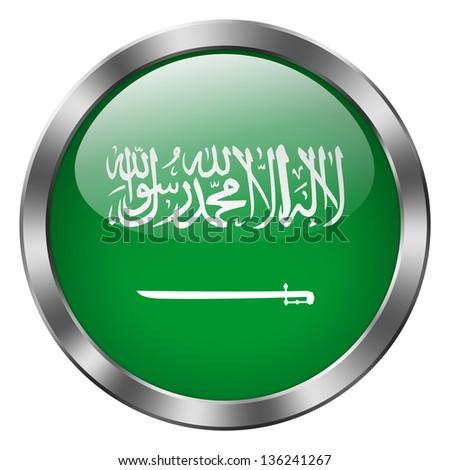 saudi arabia flag metal button - stock photo
