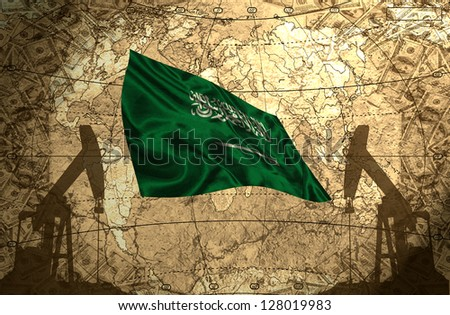 Saudi Arabia flag on the background of the world map with oil derricks and money - stock photo