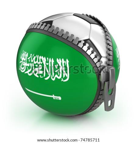 Saudi Arabia football nation - football in the unzipped bag with Saudi Arabia flag print - stock photo