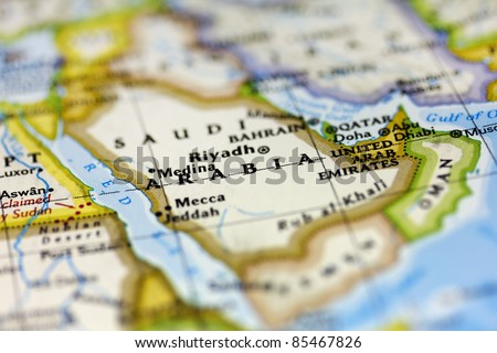 Saudi Arabia on the map. - stock photo