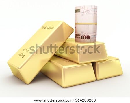 Saudi arabian riyal banknote roll and gold bars - stock photo