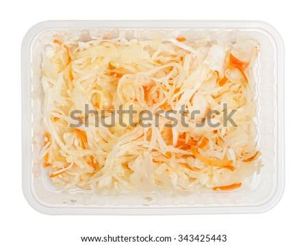 Sauerkraut isolated on white - stock photo