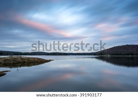 Saugatuck Reservoir, Redding Connecticut at sunset. Taken as a long exposure - stock photo