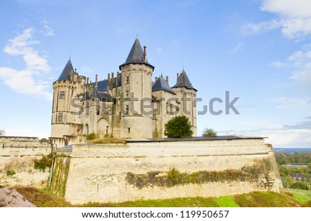 Saumur castle and  in the Loire Valley, France - stock photo
