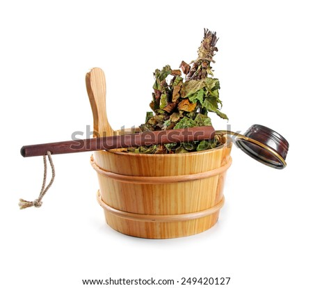 sauna accessories - bucket with birch broom and ladle, isolated on white - stock photo