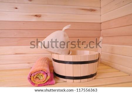 Sauna interior - stock photo