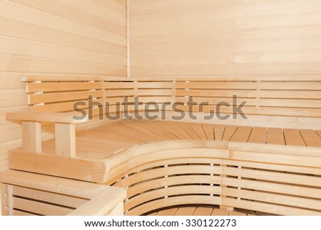 Sauna interior comfortable wooden room - stock photo