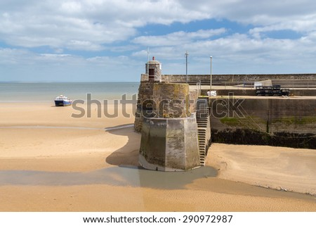 Saundersfoot Harbour entrance Pembrokeshire Wales UK Europe - stock photo