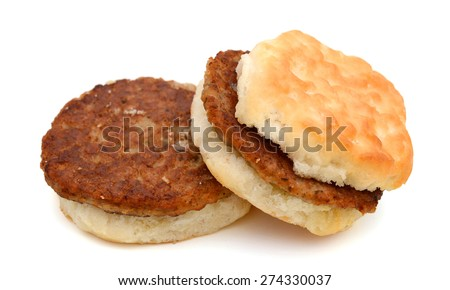 sausage biscuit on white background  - stock photo