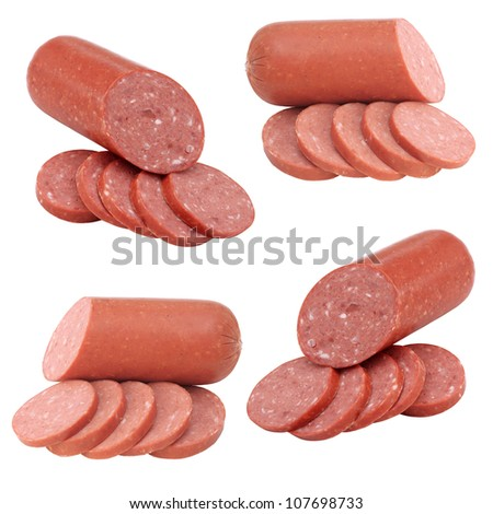 sausage collection isolated on white background - stock photo