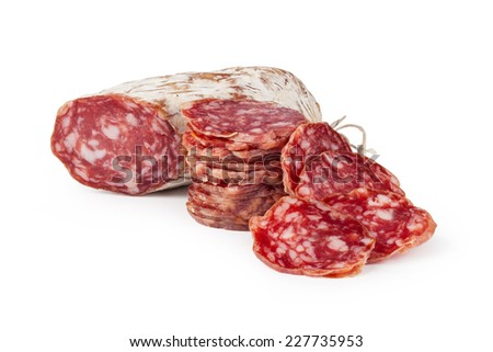 sausage on a white background - stock photo