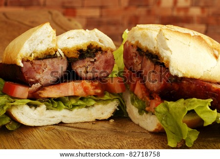 Sausage sandwich - stock photo