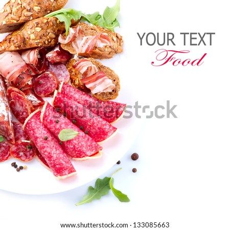 Sausage. Various Italian Ham, Salami and Bacon. Meat Food border isolated on a white background. Papperoni. Sandwich ingredients - stock photo