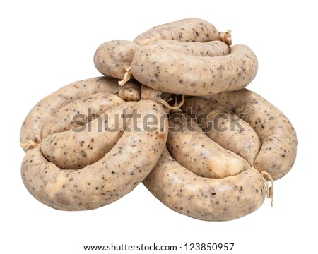 sausages isolated on white background - stock photo