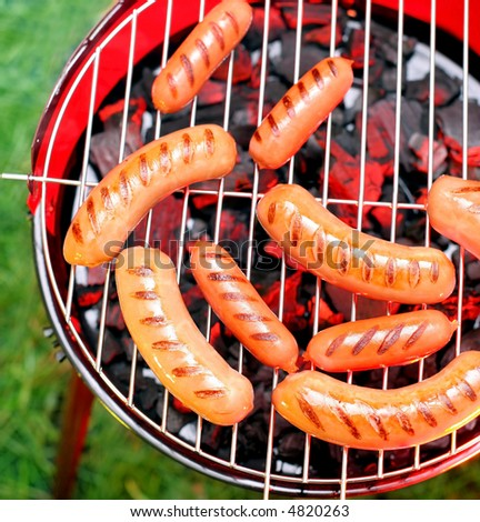 Sausages on a lattice - stock photo