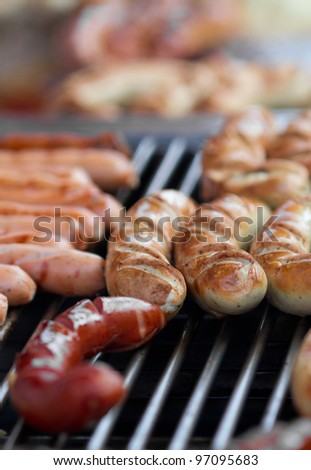 sausages on grill in freiburg - stock photo