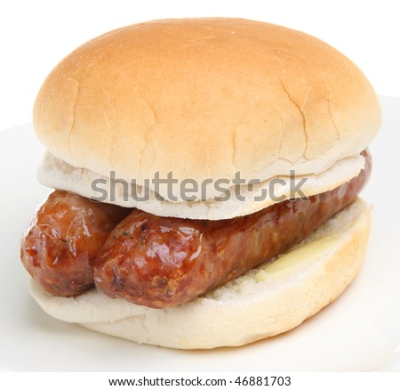 Sausages sandwich - stock photo