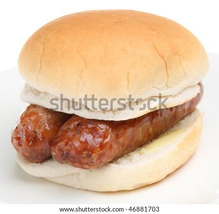 Sausages sandwich - stock photo
